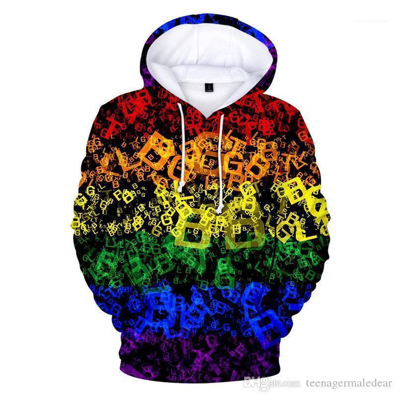 Кофты Мода Сыпучей Мужской Одежда LGBT Printed Дизайнерский мужские толстовки с длинным рукавом с капюшоном Пара