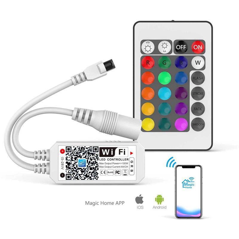 CresTech Smart Wi-Fi Contrôleur RVB pour LED Lights bande, plus 64 Collaborations LED Strip, couleurs Dimmable, réveil Coucher de soleil