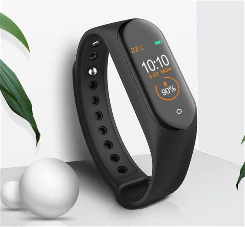 أسعار M4 الذكية فرقة للياقة البدنية المقتفي ساعات رياضية أساور قلب ذكية ووتش 0.96 بوصة Smartband مراقب الصحة معصمه أساور PK مي 4