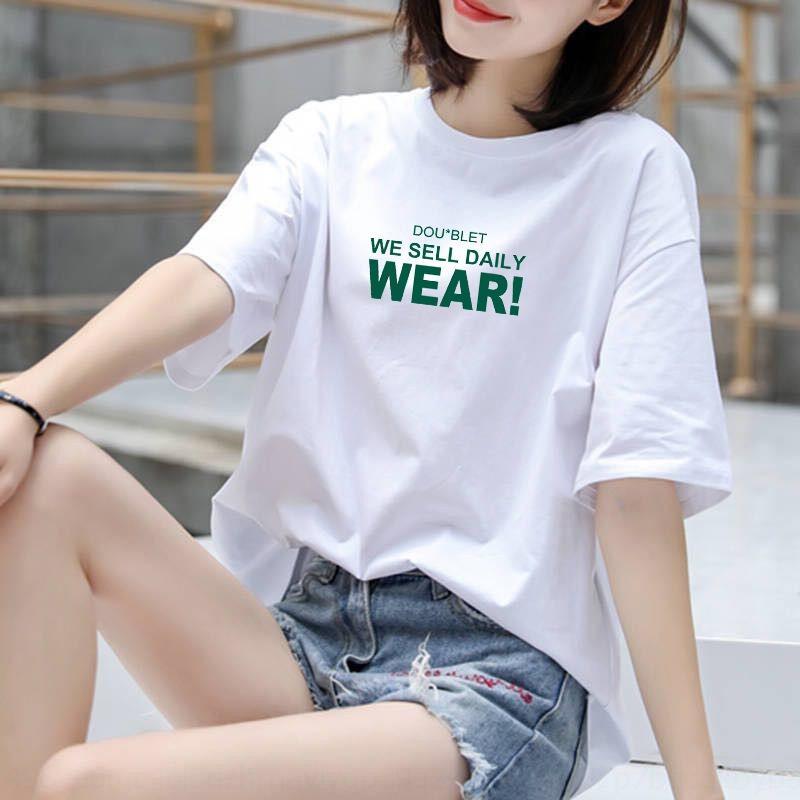 dOLBA mvFBb à la mode d'été nouveau style coréen 2020 lettre t-shirt étudiante ins occasionnels à manches courtes en vrac de grande taille Underpants défavo
