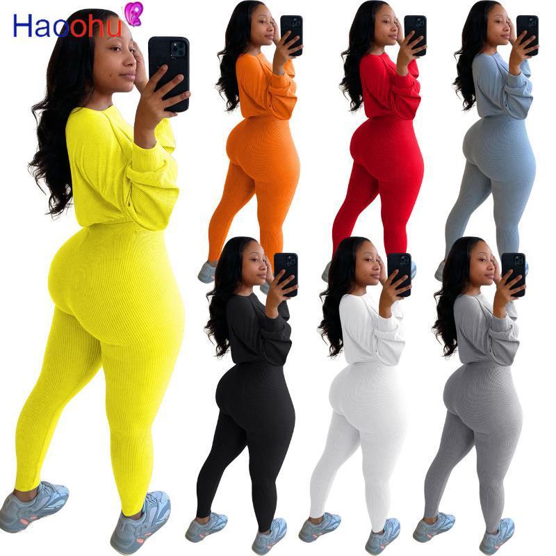 Frauen Sportswear Zweiteiler Herbst Kleidung Gerippte Strick Langarm Crop Tops und Fitness Bleistift Jogger Hose dünne Outfits