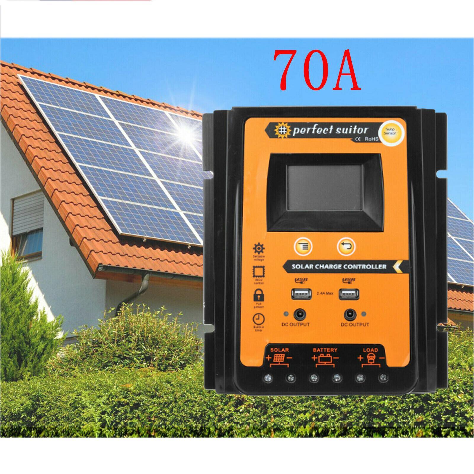 Regolatore di carica 70A MPPT auto solare 12 Display LCD / 24V batteria Regolatore