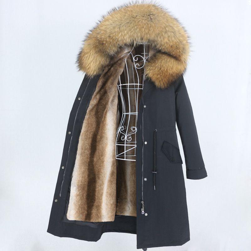 OFTBUY 2020 Yeni X-uzun Parka Su geçirmez Kış Ceket Kadınlar Doğal Rakun Fox Kürk Hood Gerçek Kürk Ayrılabilir Streetwear
