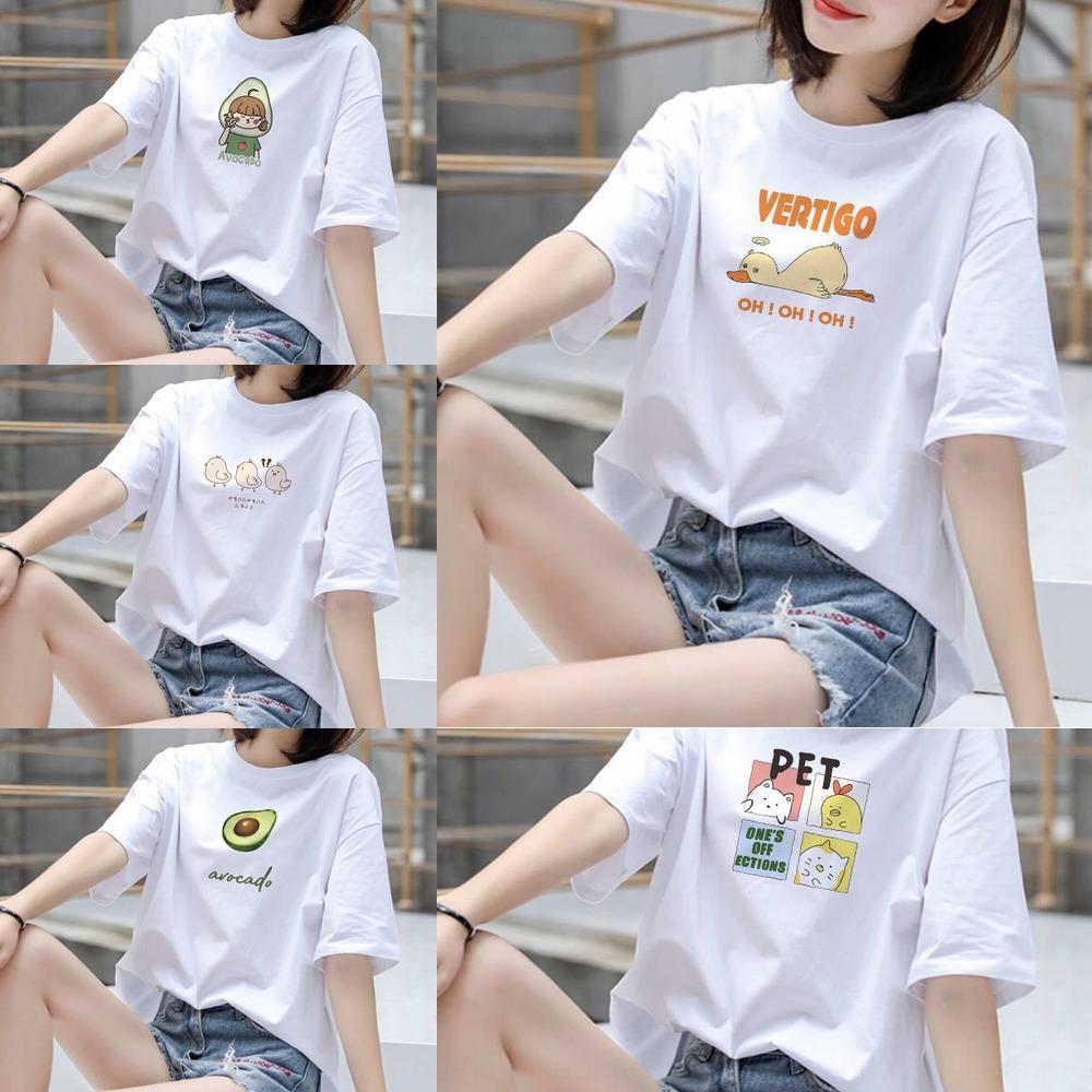 ckuP2 2020 superior T- verão moda bonito impresso estudante ocasional de manga curta camisa de base ins T-shirt das mulheres moda feminina
