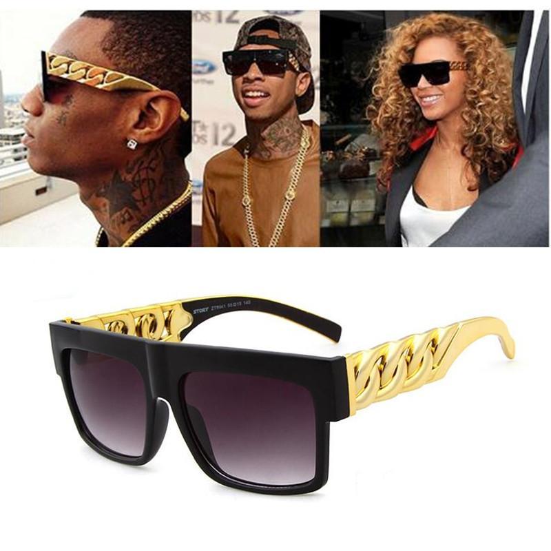 Moda Ünlü Inspired Altın Metal Zinciri Kim Kardashian Beyonce Güneş Vintage Hip Hop Güneş Gözlükleri zonnebril dames