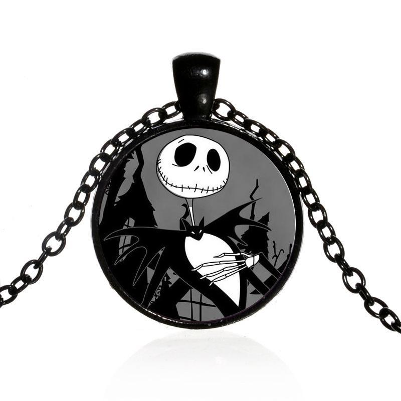 The Nightmare Before Christmas Necklace Jack Skellington Skull Evil Smile Glass Dome Pendant Punk Chain Hot Movie Jewelry