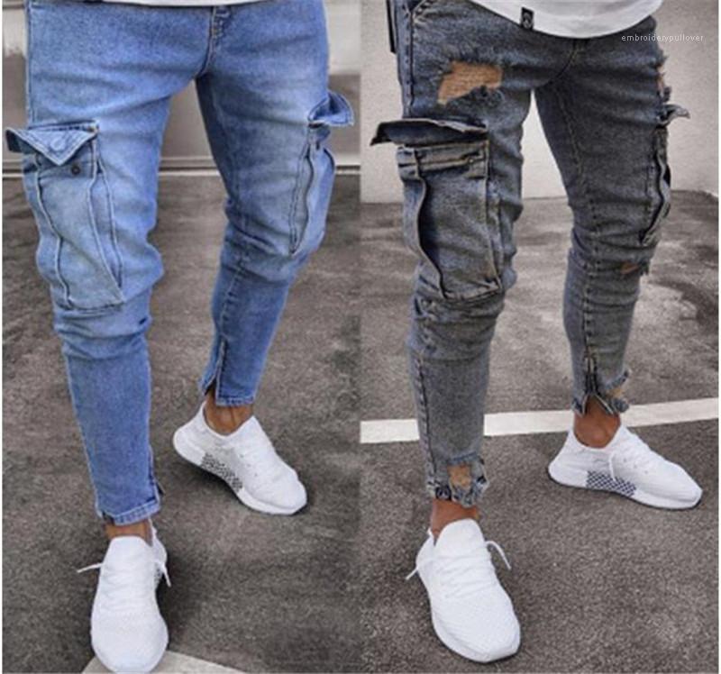 Paket Tasarımcı Erkek Giyim Oversize Casual Slim Mens ile Jeans Moda Tok Renk Erkek Kalem Pantolon