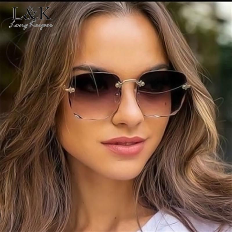 LongKeeper Женщины Rimless Sunglasses Luxury площади Розовый Градиент Солнцезащитные очки Женщины Мода Крупногабаритные очки Lentes De Sol Mujer