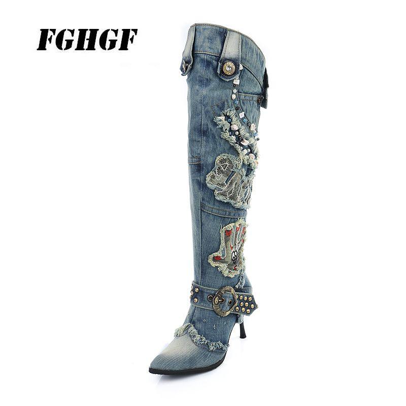 Yeni 2020 kadın ayakkabıları sonbahar ve kış yüksek topuklu kot ve stiletto bayan botları şövalye botları boncuklu aşınma