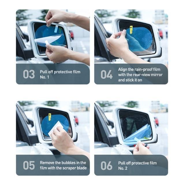 Baseus 2Pcs 0.15mm Car Rearview Mirror Protective Films Anti Window Foils Waterproof Rainproof Protective Car Sticker