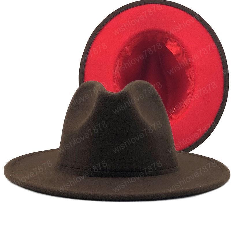coffe red Patchwork Wool Felt Jazz Fedora Hat Women Unisex Wide Brim Panama Party Trilby Cowboy Cap Men Gentleman Wedding Hat