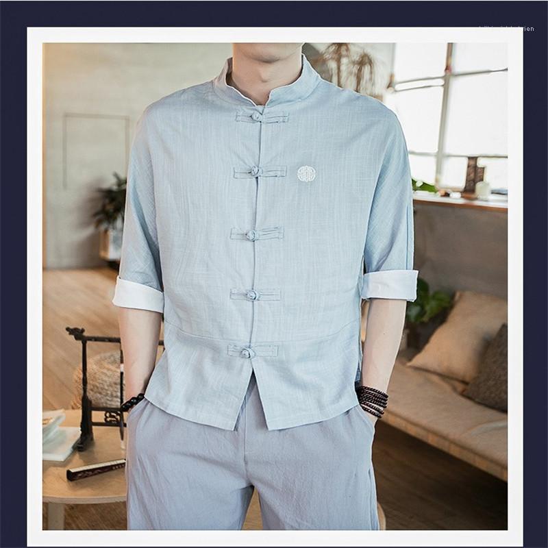 Couleur d'été pur vêtements courts en lin col Casual Cardigan hommes Vêtements pour hommes Designer Broderie Chemises