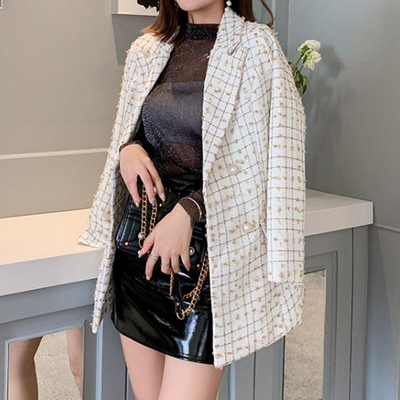 2020 새로운 여성 물떼새 격자 정장 코트 라운드 넥 트위드 소재 긴 소매 버튼 코트 가을 술 자켓 디자인 T200814