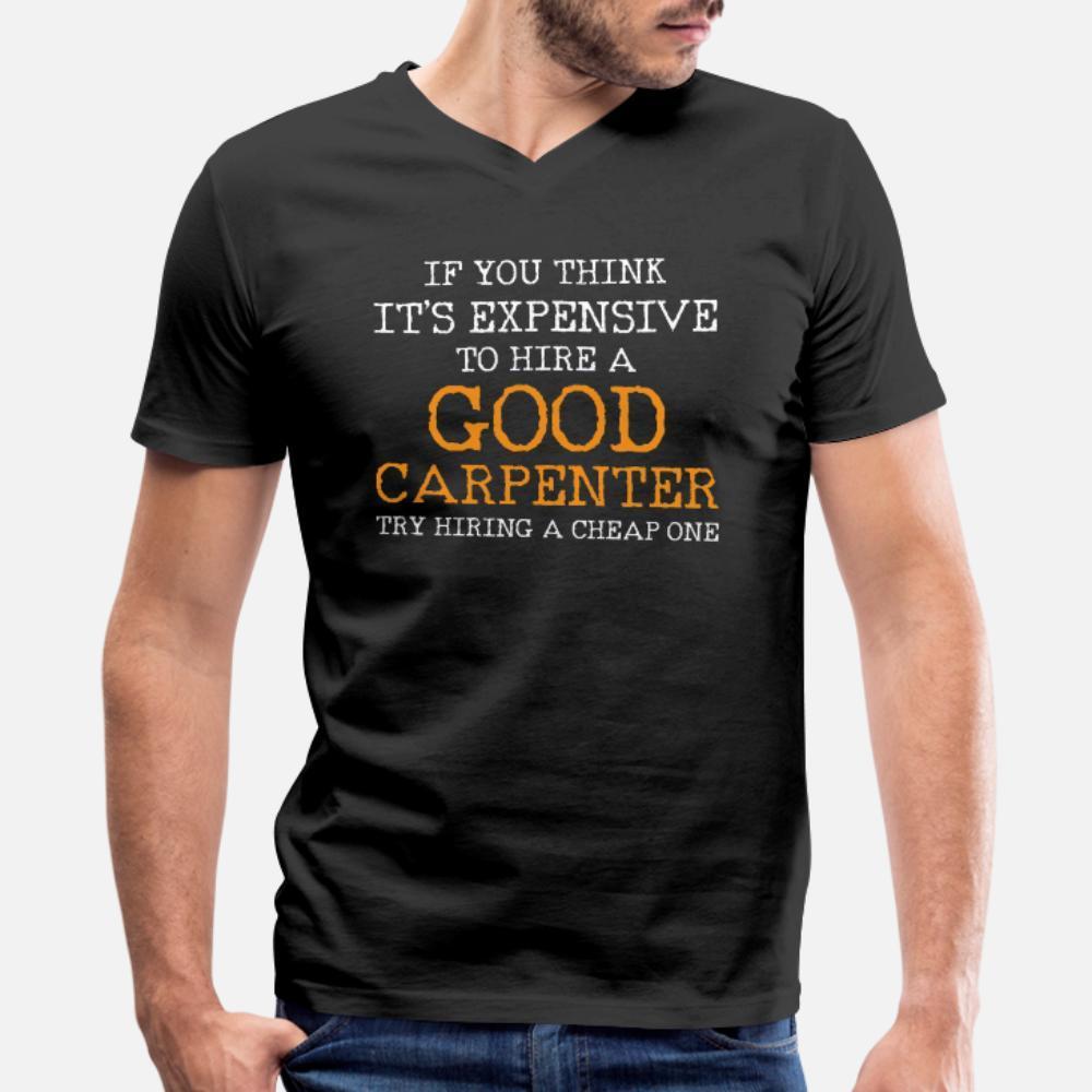 Carpenter camisetas homens Projeto de algodão em torno do pescoço camisa Fit básico Verão Estilo Vintage