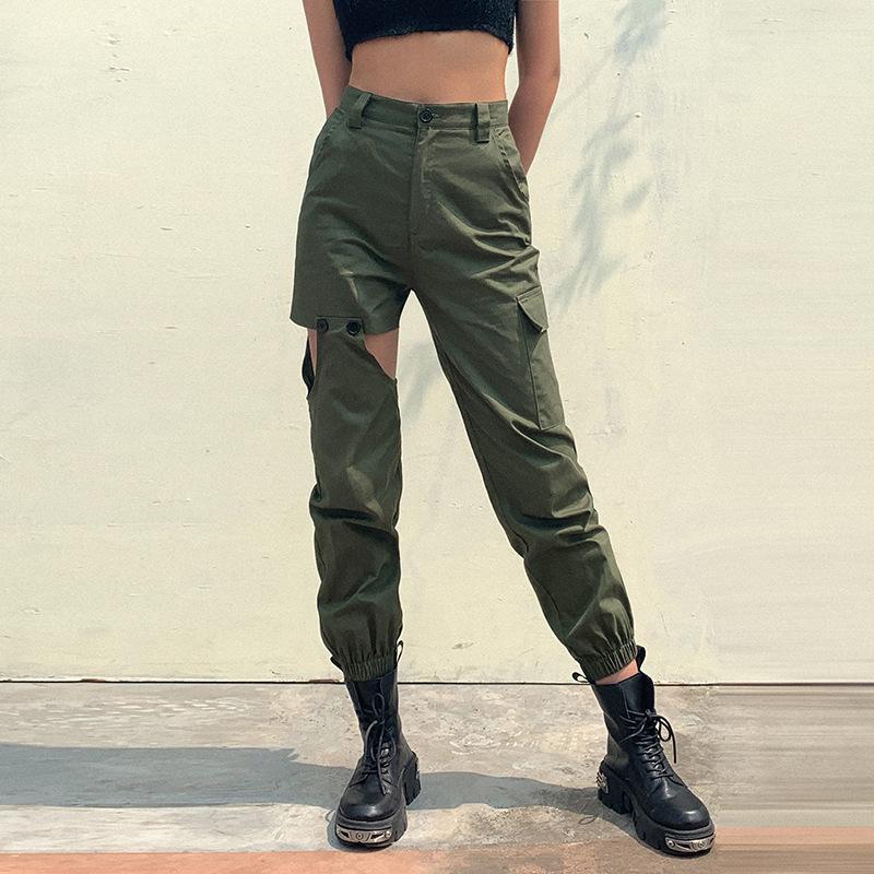 2020 verão nova celebridade ins Internet costura irregular calças calças casuais bolso harém macacões das mulheres