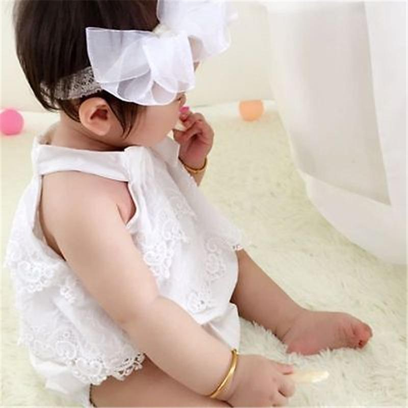 Neugeborenes Baby-Spitze Sleeveless Spielanzug-Baumwolloverall Outfit sunsuit Blumen Kleidung 0-18M