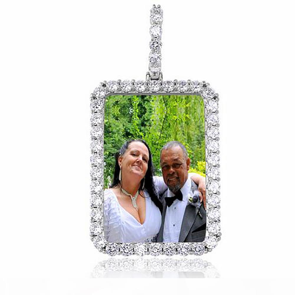 Custom Made Foto Pingente 14K Gold Silver Rosegold Retângulo Medalhões Colar Pingente por Homens Mulheres presentes