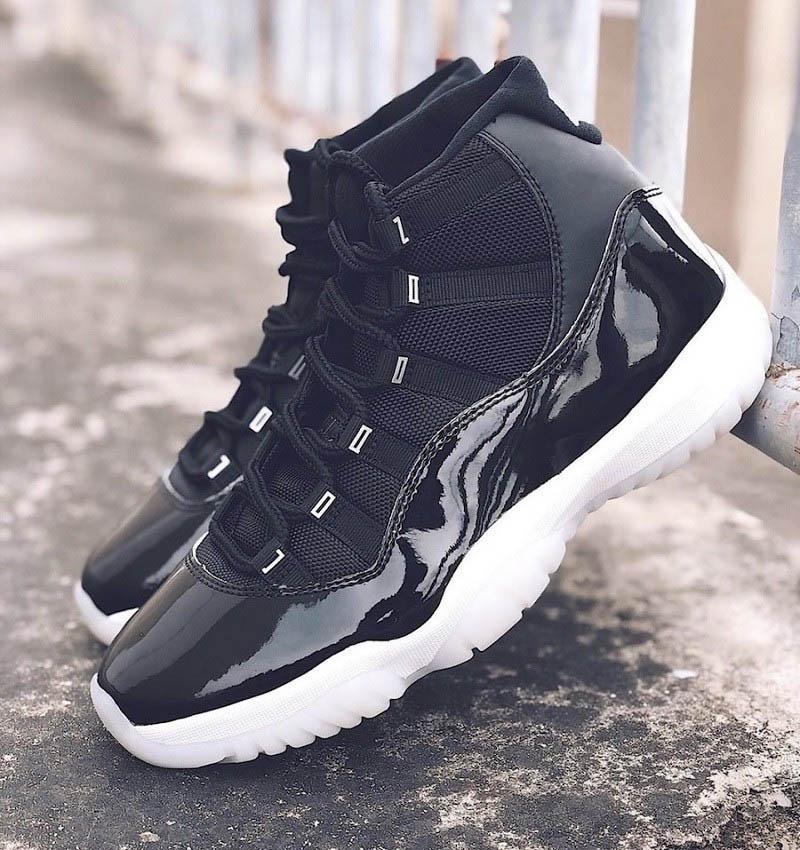 Yeni 11 25. Yıl Siyah Beyaz Metalik Gümüş Erkekler kadınlar Basketbol ayakkabıları 11'leri Jumpman 23 açık hava spor sneaker