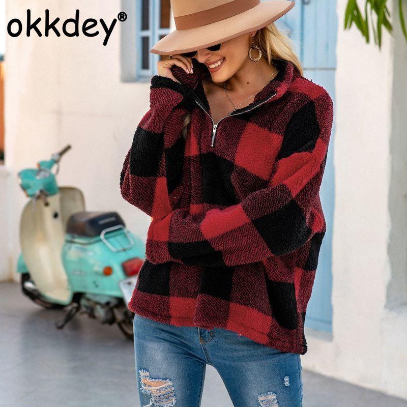 Okkdey Mujeres Moda terciopelo tela escocesa Hoodies floja ocasional de manga larga con cierre de cremallera suéter Tops Otoño Invierno Outwear