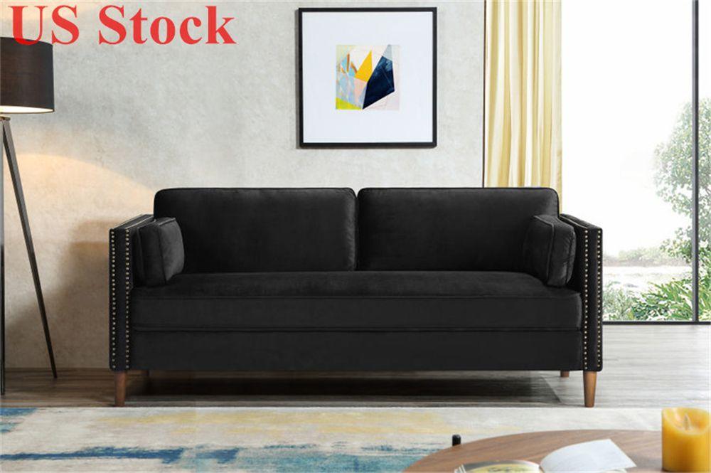 US Stock 2P+3P Living Room Black Sofa Comfortable & Stable Multi-Seat Sofa W308S00004