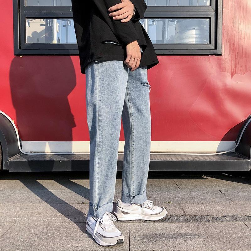 gljEi pai marca rasgado ampla da moda nan shi ku moda calça all-jogo calças de brim dos homens ins perna estudante solta calça reta casuais verão