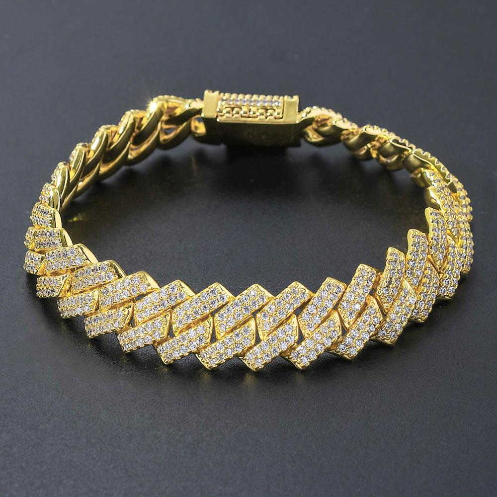 Pulseras de cadenas Enlace hombres de moda de Hip Hop Cubano Jeweley Bling Bling cobre circonio cúbico más fresco rectángulo del bloqueo de cierre del brazalete 14mm 7 pulgadas 8 pulgadas
