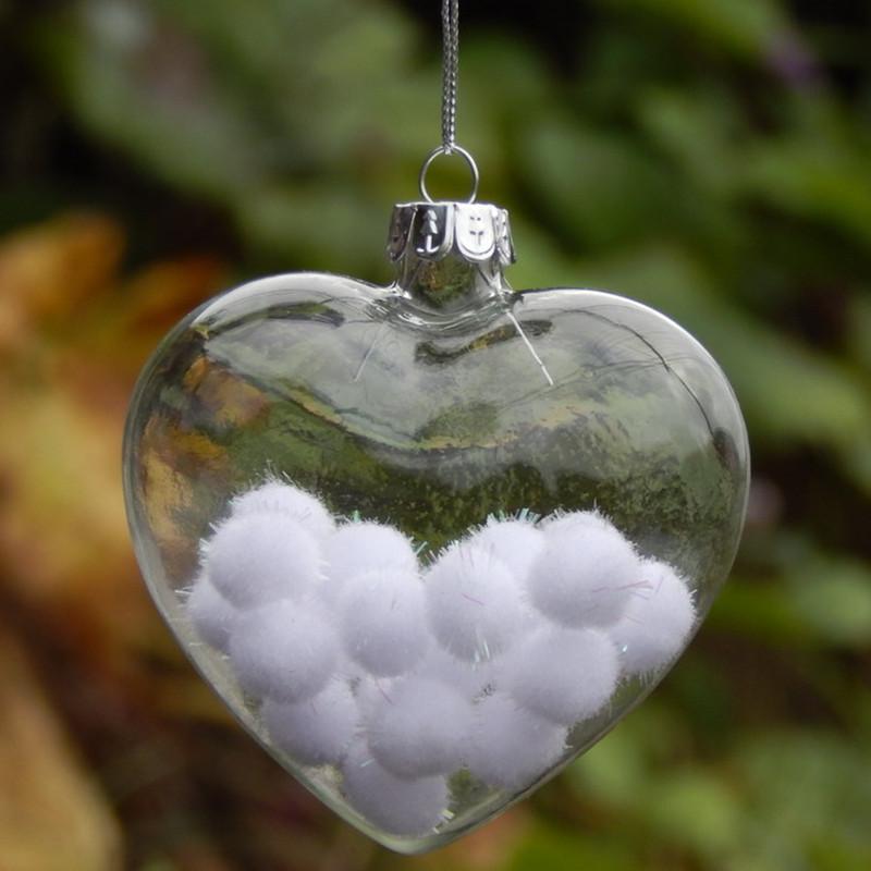 16pcs / pacchetto Width = 6 centimetri a forma di cuore in vetro gancio Wedding Hanger decorazioni di Natale di vetro trasparente a sospensione