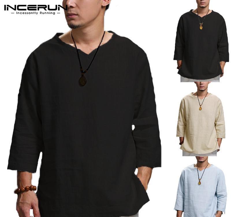 Плюс размер 5XL Китайский Стиль T Shirt Мужчины Твердые Сыпучие 3 4 рукавом V-образным вырезом Tee Shirt Men Casual Cotton Vintage Mens T-shirt6827