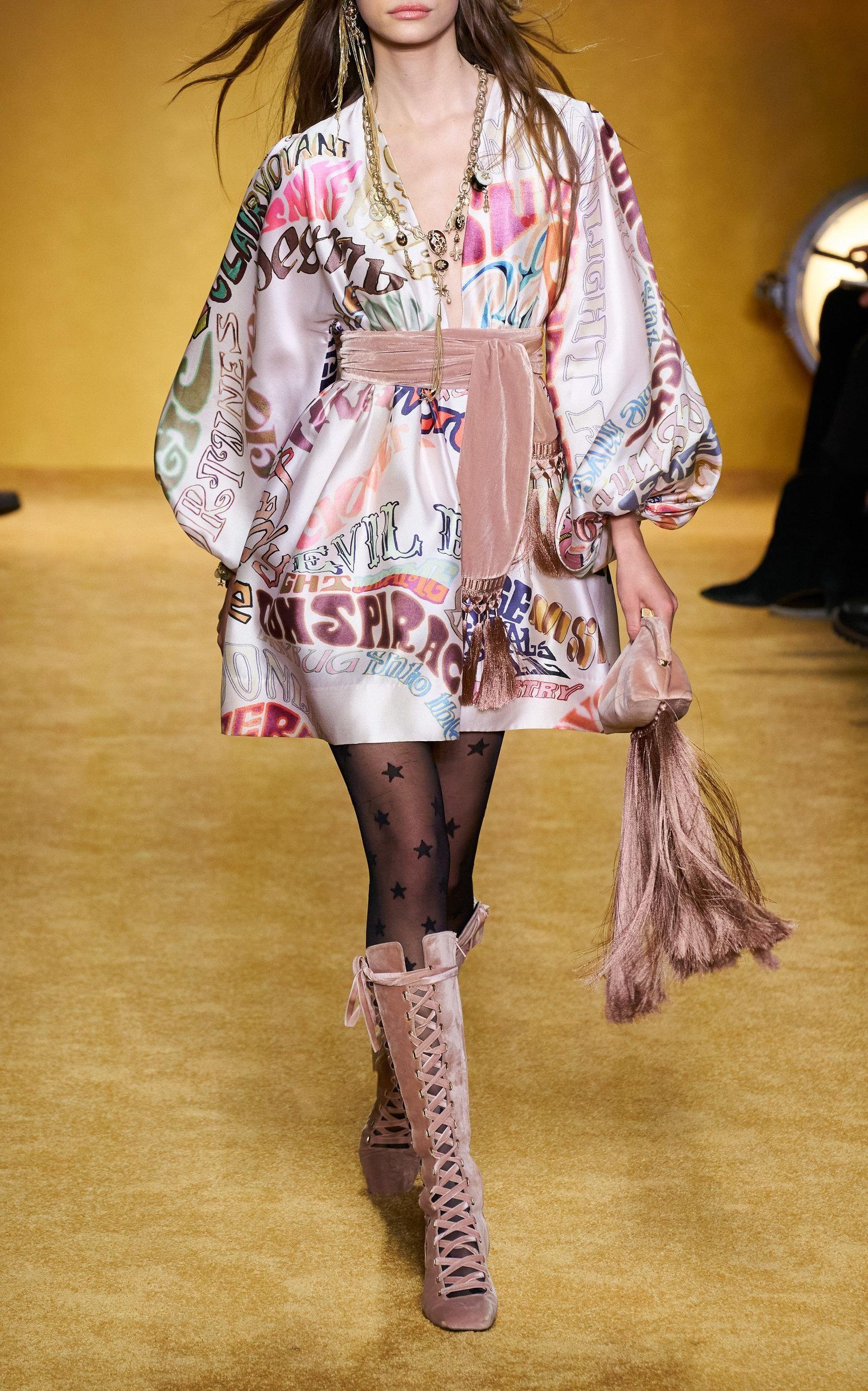 Minority Marca v Tie Dress stile lettera stampati lana primavera misto di Australia e vestito da autunno 2020 nuovo
