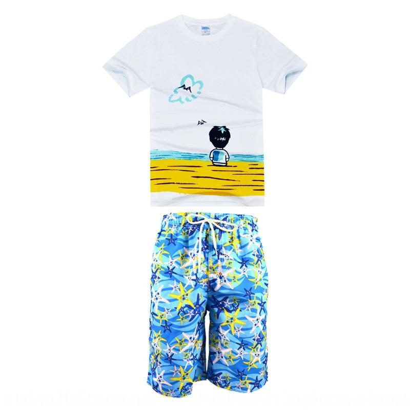 4oc7p y padre-hijo playa de secado rápido camiseta 2020 pantalones cortos de algodón traje de mar vacaciones camiseta impresa de juego de los cortocircuitos de la playa