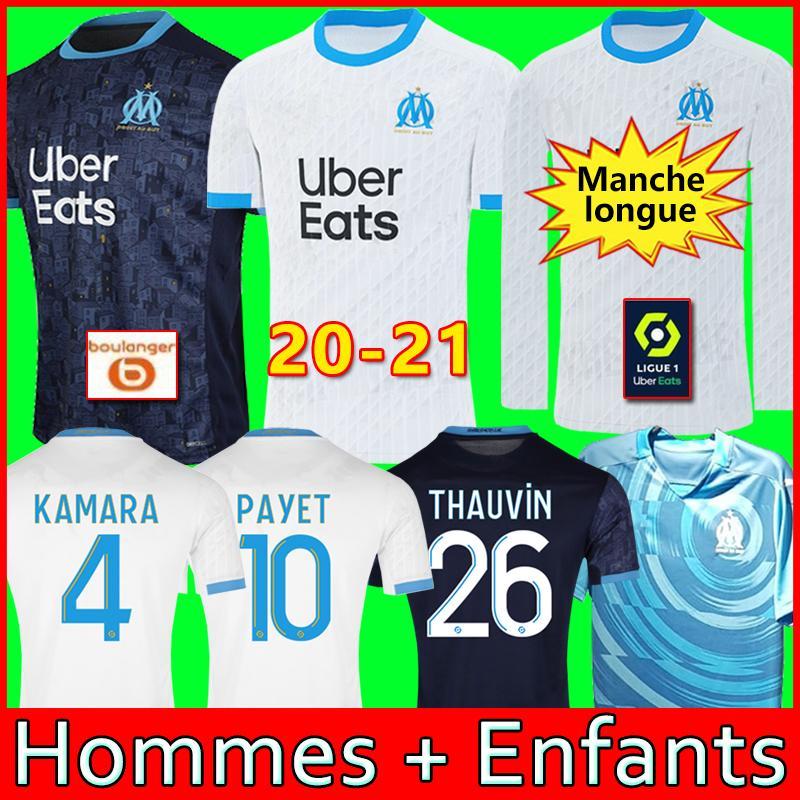 20 21 أولمبيك مرسيليا لكرة القدم جيرسي OM بالقميص 2021 مايوه دي القدم باييت THAUVIN BENEDETTO قميص كرة القدم الرجال الأطفال كيت 120 عاما