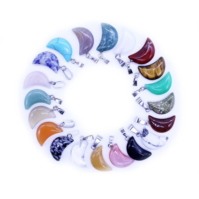 Naturstein-Charme-Kristallmond-Anhänger Turquoises Quarz-Kristall-Tiger-Augen-Opal Agates Charm für Diy Schmucksachen, die Halsketten-Zusätze
