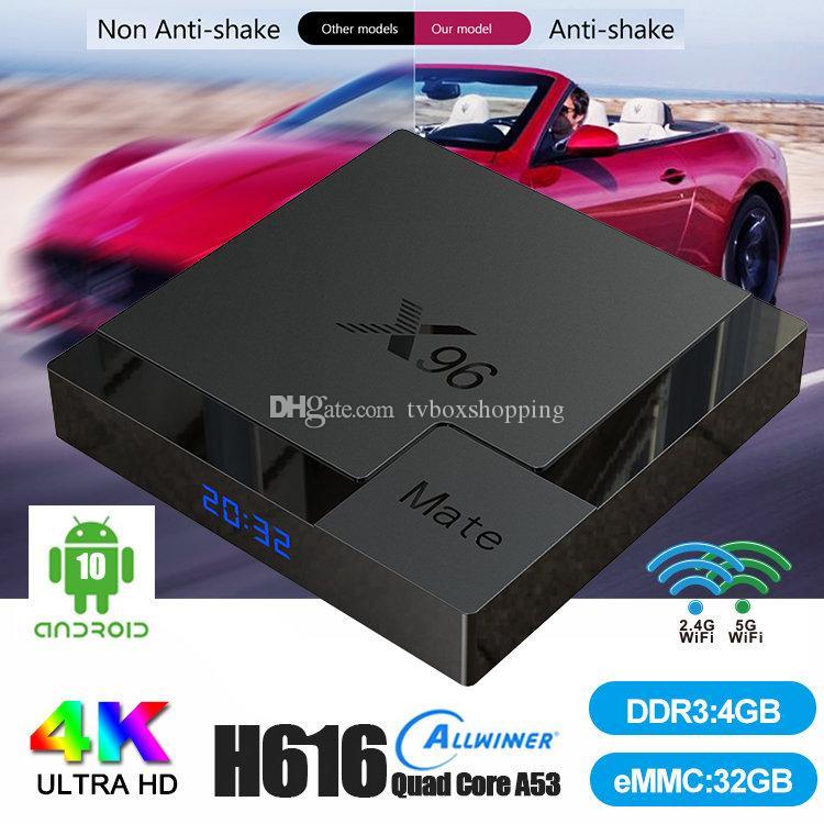 X96 메이트에서 Andriod 10.0 Allwinner H616 듀얼 와이파이 2.4G + 5G BT5.0 안드로이드 TV 박스보다 나은 X96Q 최대 T95