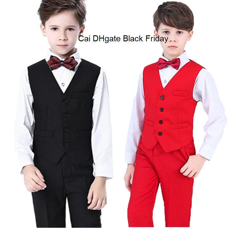 4-14Y мальчиков жилет рубашка брюки Боути 4шт официальный костюм комплект Детская одежда Свадебные Campus Student Джентльмен детей церемонии костюмы