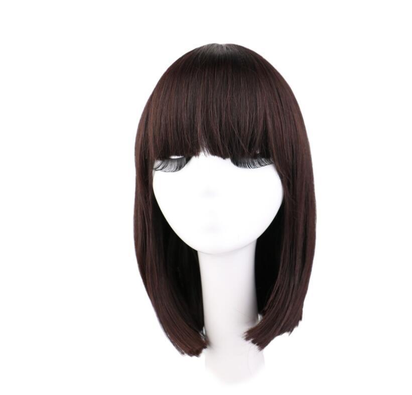 QQXCAIW sintética recta corta peluca de Natrual Mujeres Negro pelucas de pelo