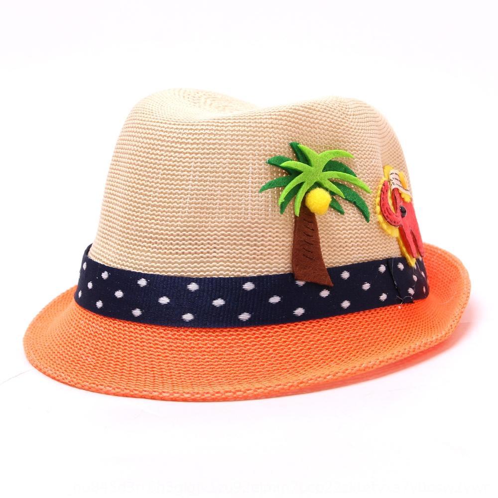 İlkbahar ve saman yaz çocuk plaj hepsi maç çocuk hindistan cevizi hasır şapka moda renk eşleştirme karikatür fil şapka seyahat