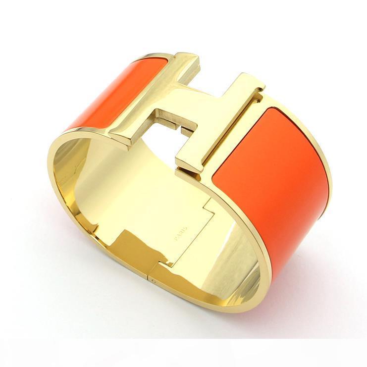 çiftler bayan güzel bilezikler için kadın ve erkek emaye altın titanyum bilezik için yeni 33mm süper geniş H bilezik