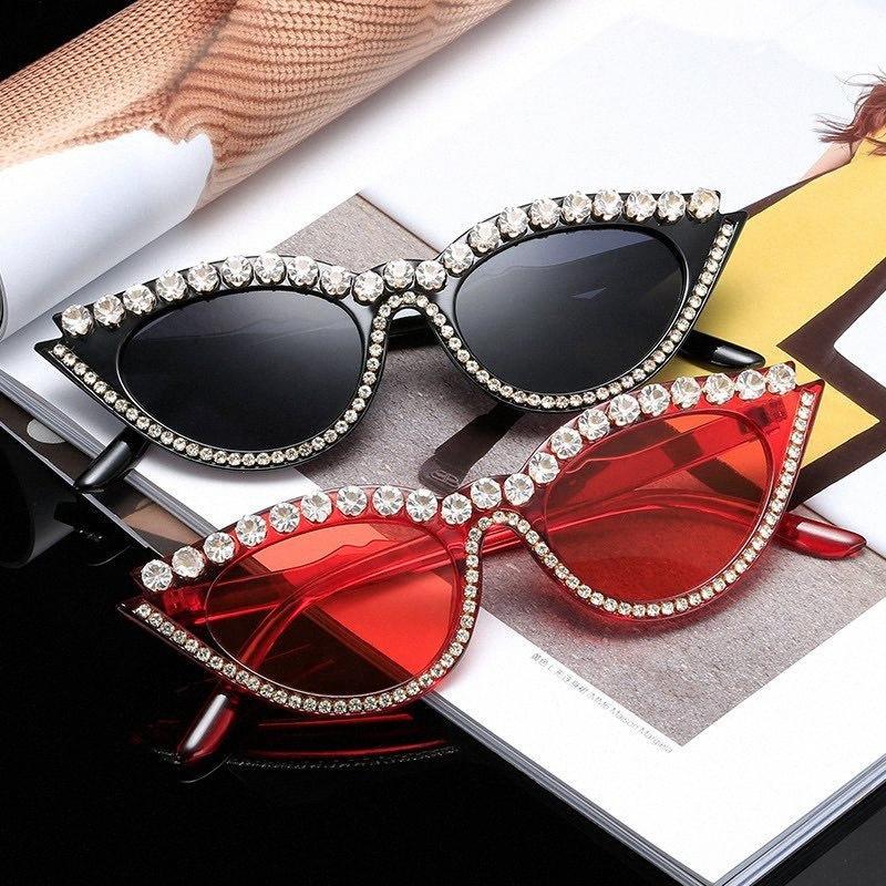 Женщины Солнцезащитные очки Мода Руководство Стразы Cat Eye Shade кадров Дизайнер Урожай ВС очки партии Glassess xd2j #