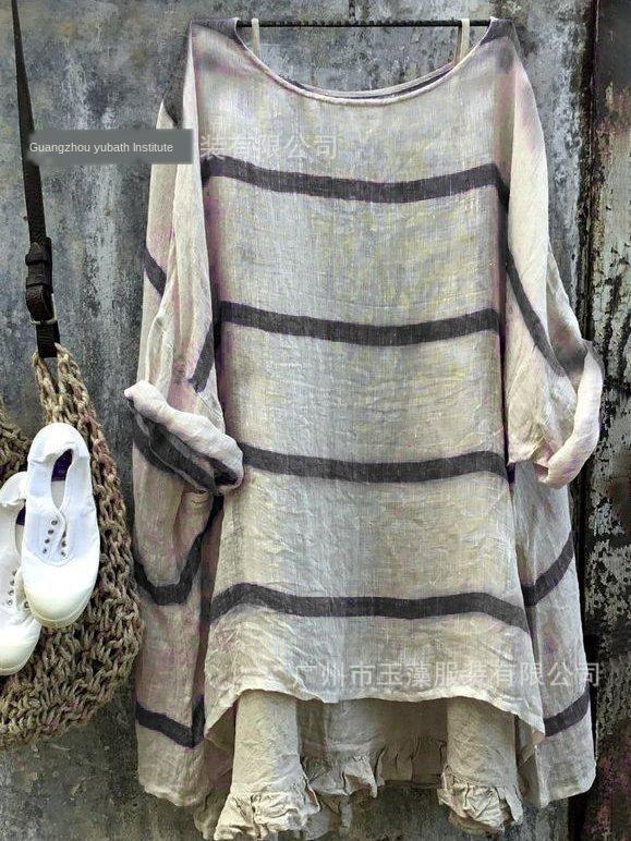 A camisa de vSzmv Mulheres listrado longa rodada manga top camisa Top Coat pescoço solto D138 das mulheres