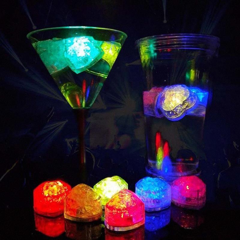 Флэш Любовь Ice Cube Water Actived Вспышка Led Light положить в воду Пейте вспышка автоматически для партии свадьбы Батончики Принадлежности для Рождества D kU0c #