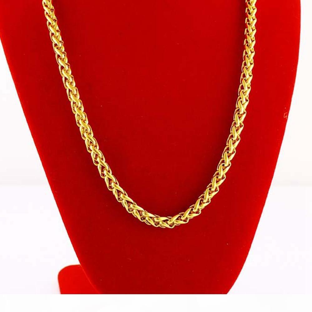 Воротник цепь 18k желтого золота Заполненные византийский ожерелье подарок 60см