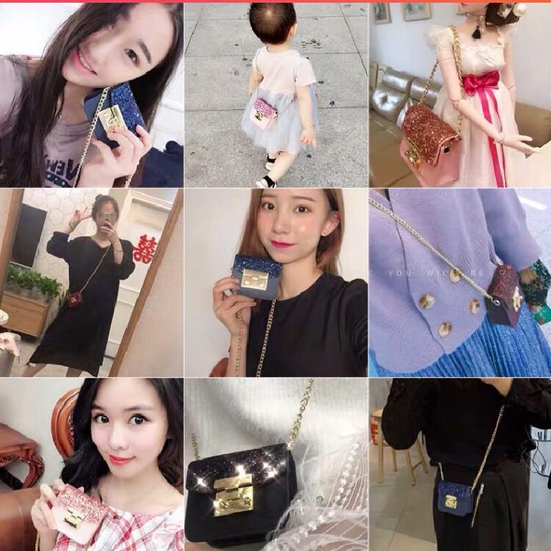 Yeni-Çanta PU Deri Mini Küçük Kadınlar Crossbody çanta kadın payetli çanta messenger çanta Pembe