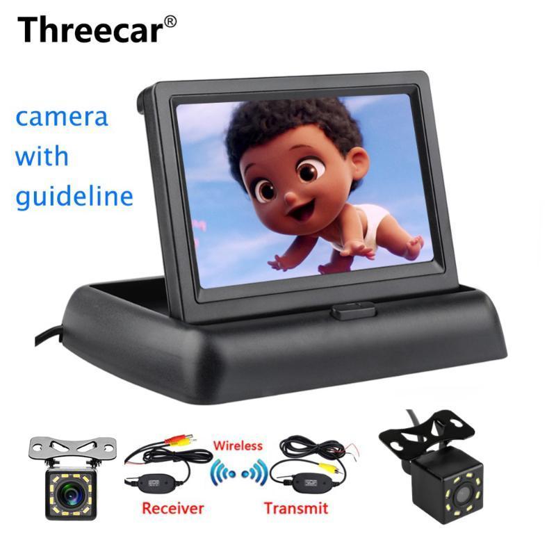 """Threecar 8LED CCD Waterproof Vehicle Camera Universal HD Car Rear View Back Up Reverse Parking Camera + 4.3"""" TFT LCD Car Monitor"""