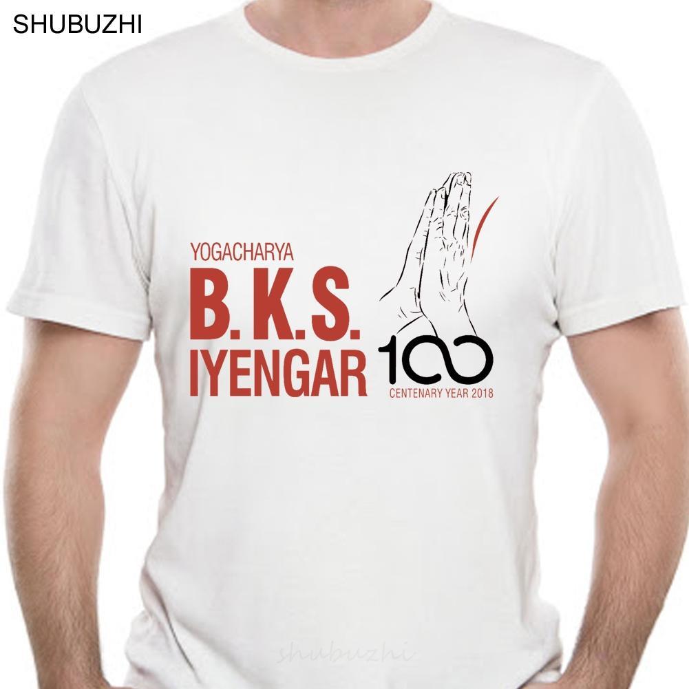 Homens Impresso T Shirt Logo Cotton O-Neck camisetas Bks Iyengar Oficial Ano Centenário - Charity design de manga curta Women T-shirt