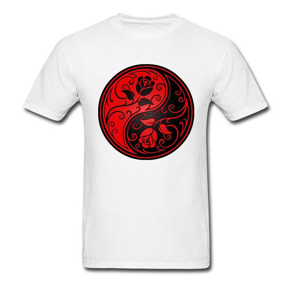 Высокое качество Crew Neck 100% Хлопок Одежда Рубашка мужская майка красный и черный Инь Ян Розы, напечатанные на футболки мужской моды