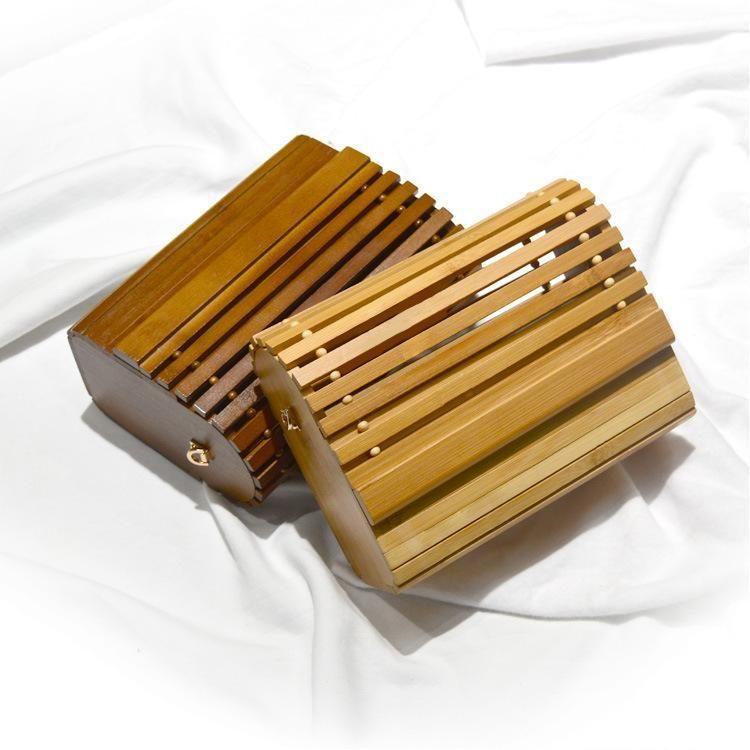Rattan-Dame Bag aus Holz Rattan Retro Totem Tasche Abendessen Schulter Messenger Umweltfreundlich und modisches Holz