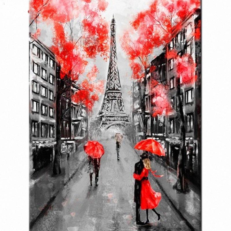 Yapay elmas Mozaik El Sanatları KdlJ # Diamond of Boyama Çapraz Dikiş Paris Kule Elmas Nakış Manzara Tam Yuvarlak resim
