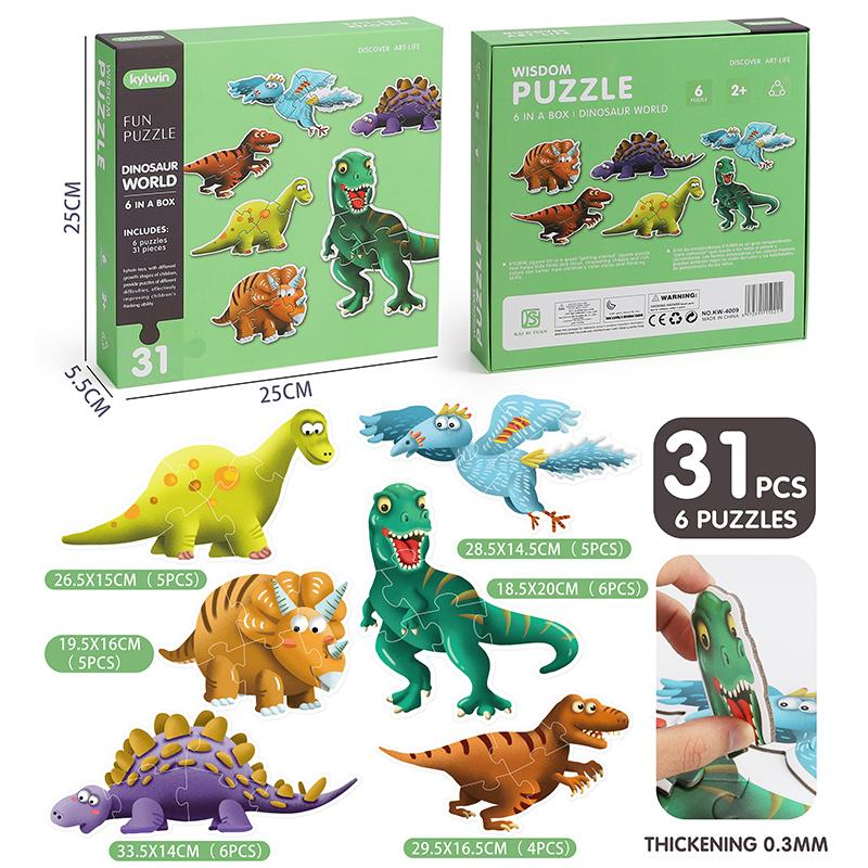 TIN4294 Assemblage 6-in-1 Dinosaur World 6 syles Puzzles total 31PCS for age 2+ kids toys puzzles