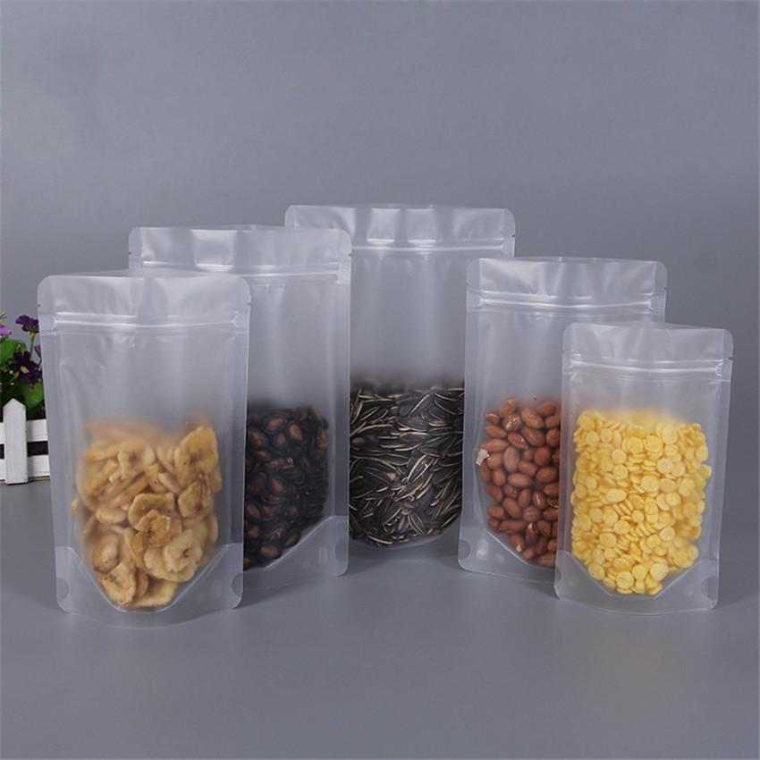 Packaging Plastic Bag fosco transparente selado Saco Para Frutas Secas Alimentos Doce Stand Up sacos de embalagem A03