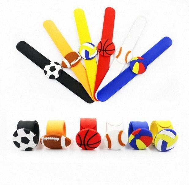 Silicone Slap Snap Bracelet Kids Soccer Volleyball Bracelets Baby Cartoon Football Sport Wristband Boys Girls Ball Games Wristbands CL mxkx#
